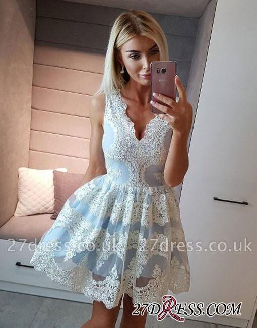 Light-blue Lace Short A-line V-neck Homecoming Dress UK