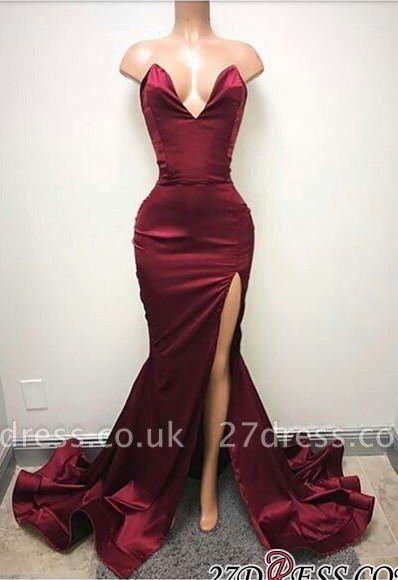 Sleeveless Sweetheart Front-Split Elegant Sweep-Train Prom Dress UK SP0319