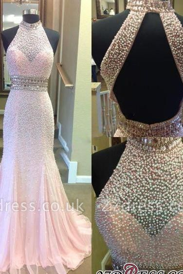Crystal Mermaid Halter Open-Back Two-Pieces Luxury Prom Dress UK