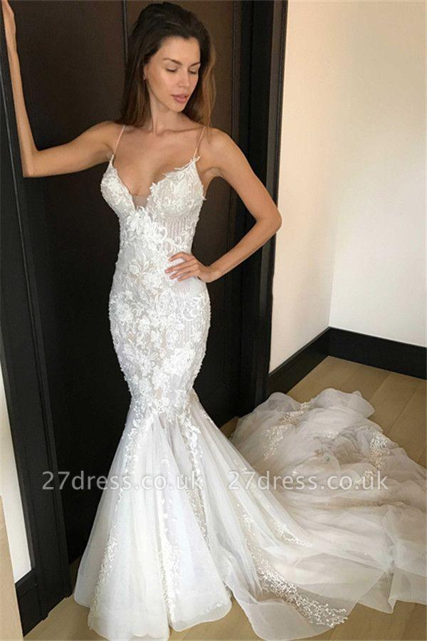 Elegant  Sexy Mermaid Spaghetti Straps Wedding Dresses UK | Appliques Bridal Gowns