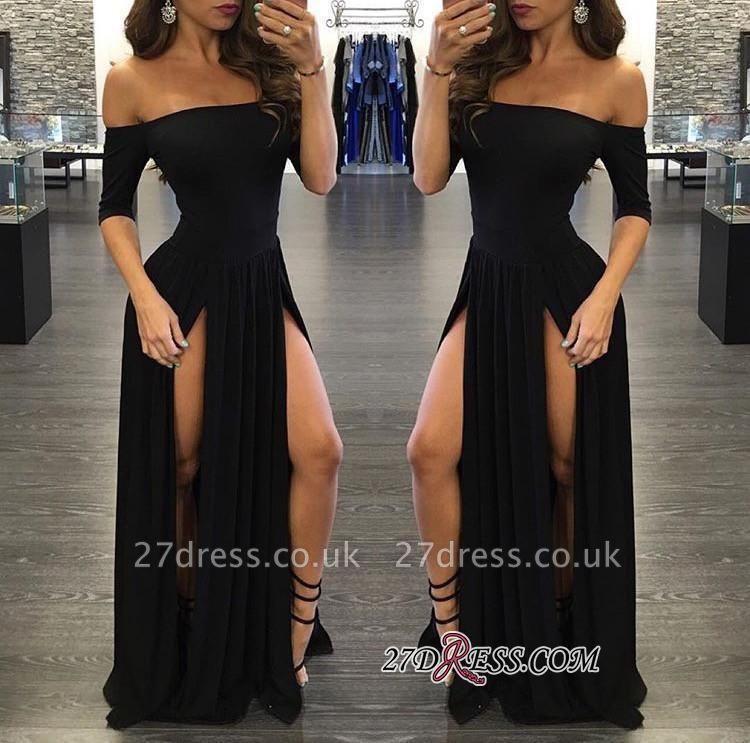 Elegant Chiffon Off-the-shoulder Split Half-Sleeve Black Prom Dress UK BA3801