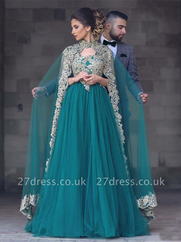 Gorgeous High-Neck Lace Appliques Evening Dress UK Tulle A-Line With Cape