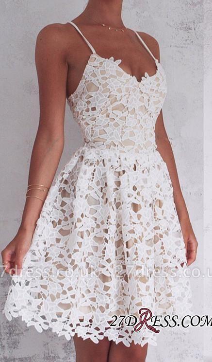 Sleeveless Spaghetti-Strap Lace Modest Lace-up Mini Homecoming Dress UK BA4677