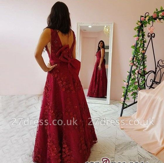 Sexy V-Neck Prom Dress UK | Evening Gowns With Appliques