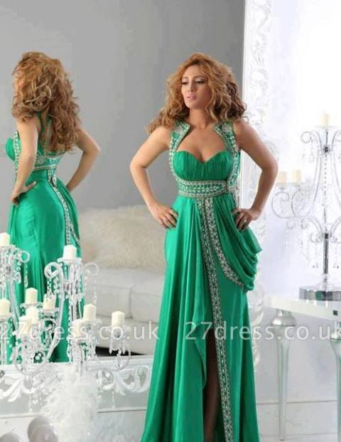 Newest Mint Green A-line Arabic Evening Dress UK Appliques Front Split