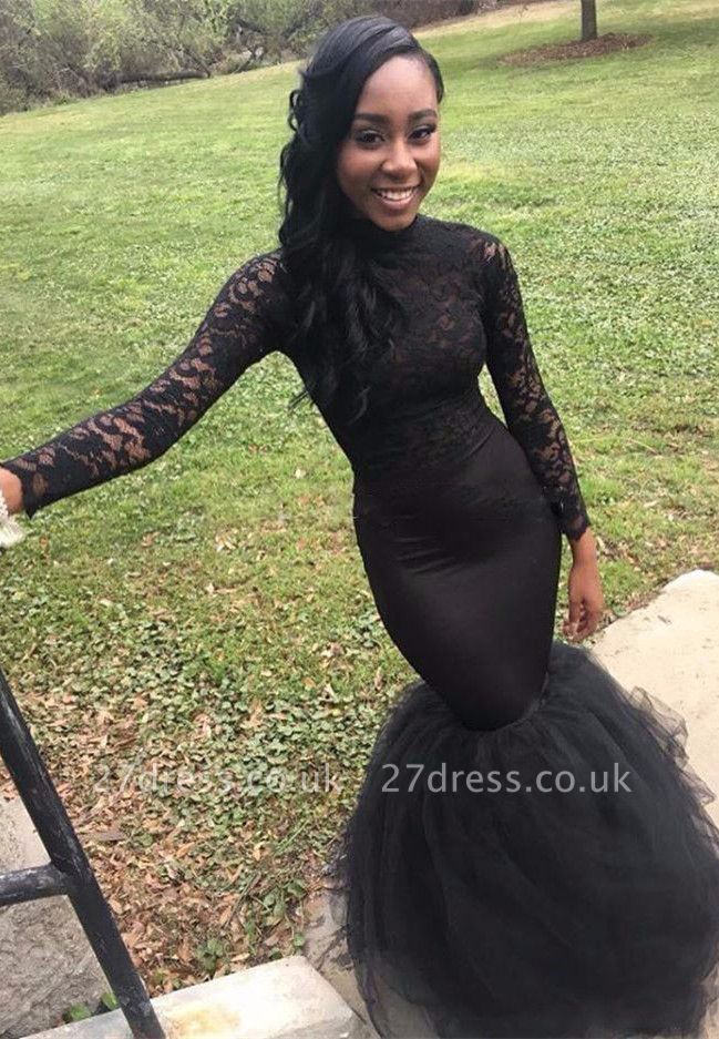 Black Long-Sleeve Mermaid Prom Dress UK  Lace Evening Gowns On Sale BA8542