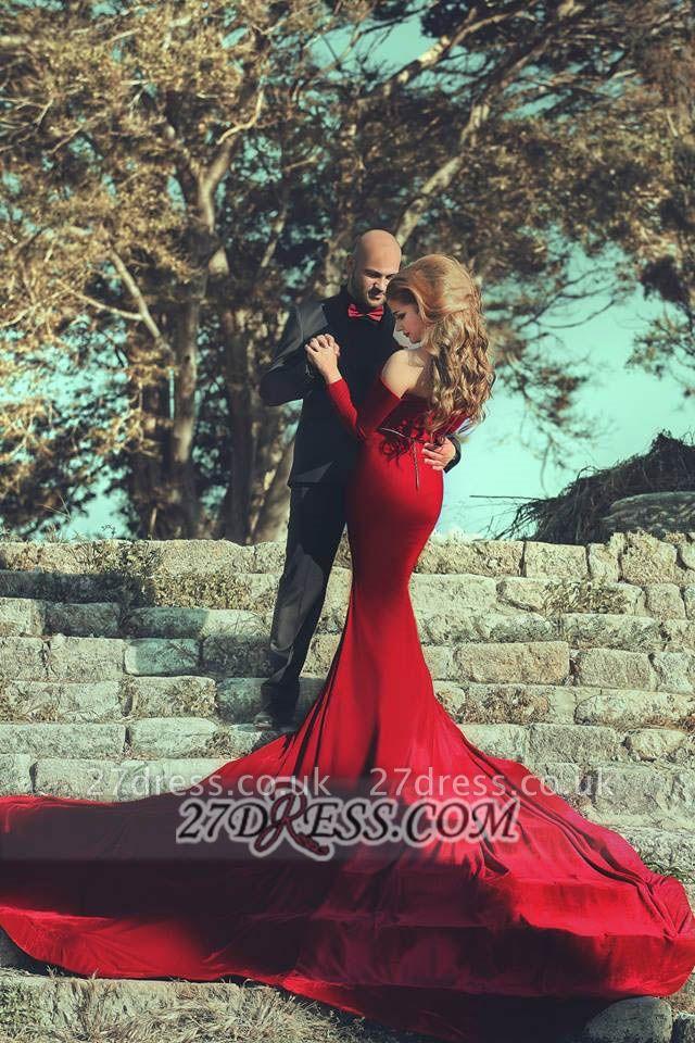 Modern Off-shoulder Sexy Mermaid Red Wedding Dress Long Sleeve Long Train