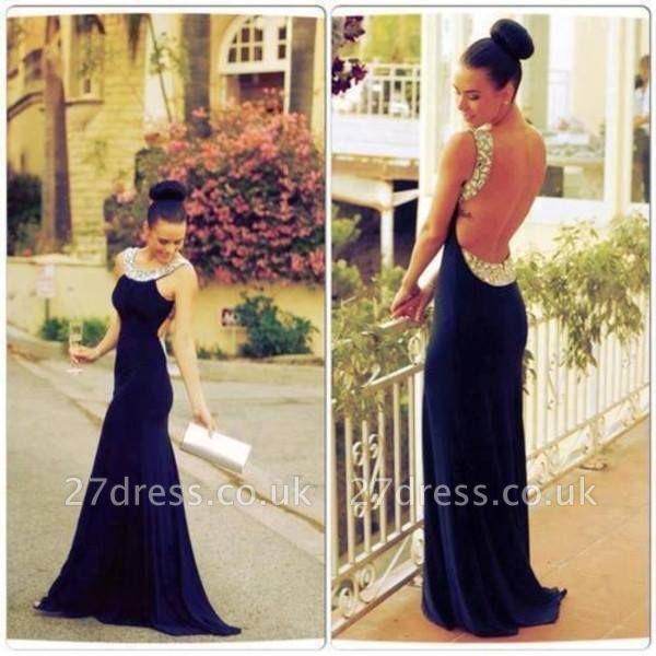 Backless Long Chiffon Prom Dress UK Beadings BA6715