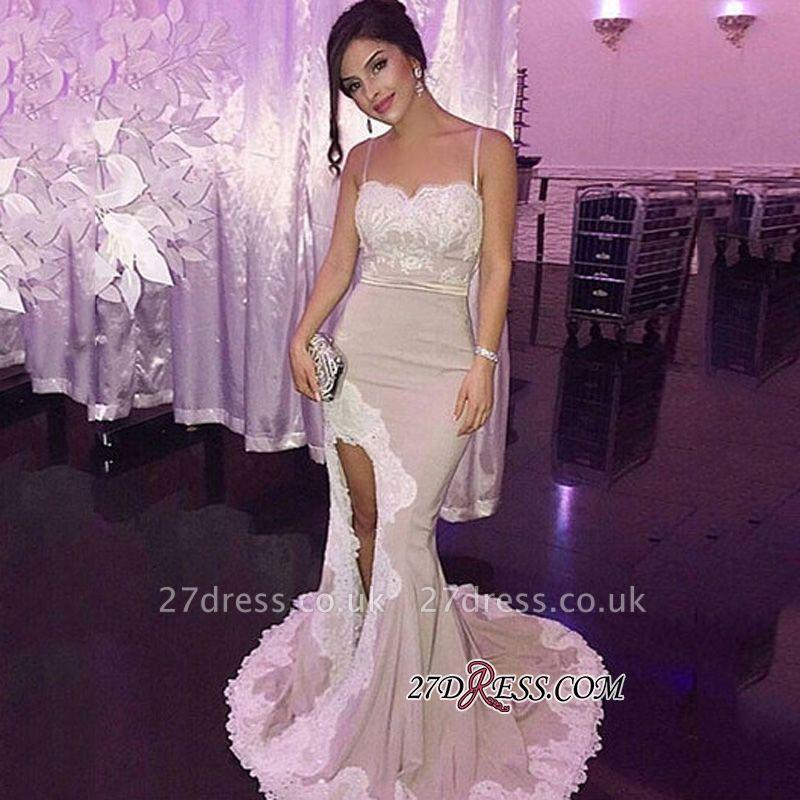 Appliques Gorgeous Side-Slit Spaghetti-Straps Mermaid Prom Dress UK