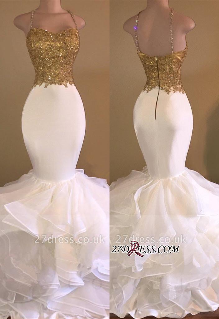 Lace-Appliques Sleeveless Ruffles Mermaid Elegant Spaghetti-Strap Prom Dress UK
