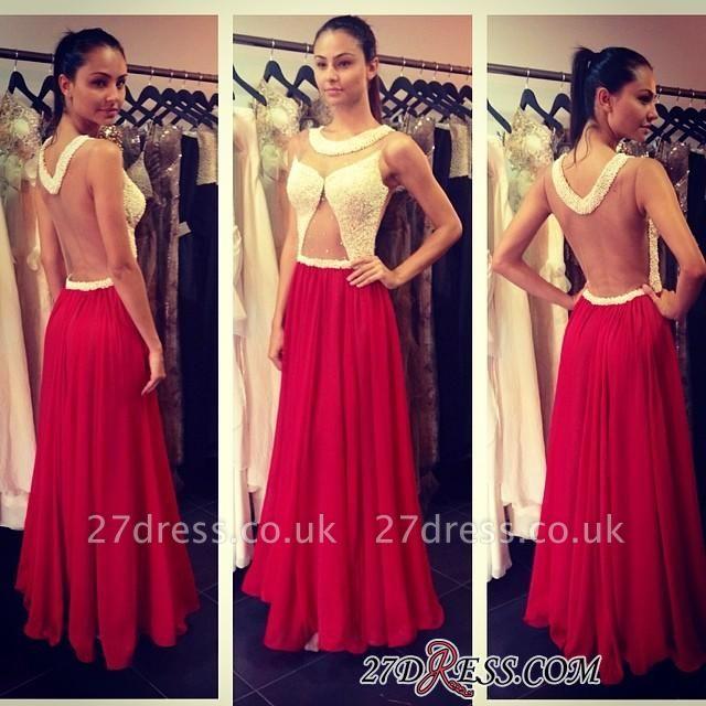 A-line Floor-length Scoop Red Sleeveless Hollow Evening Dress UK