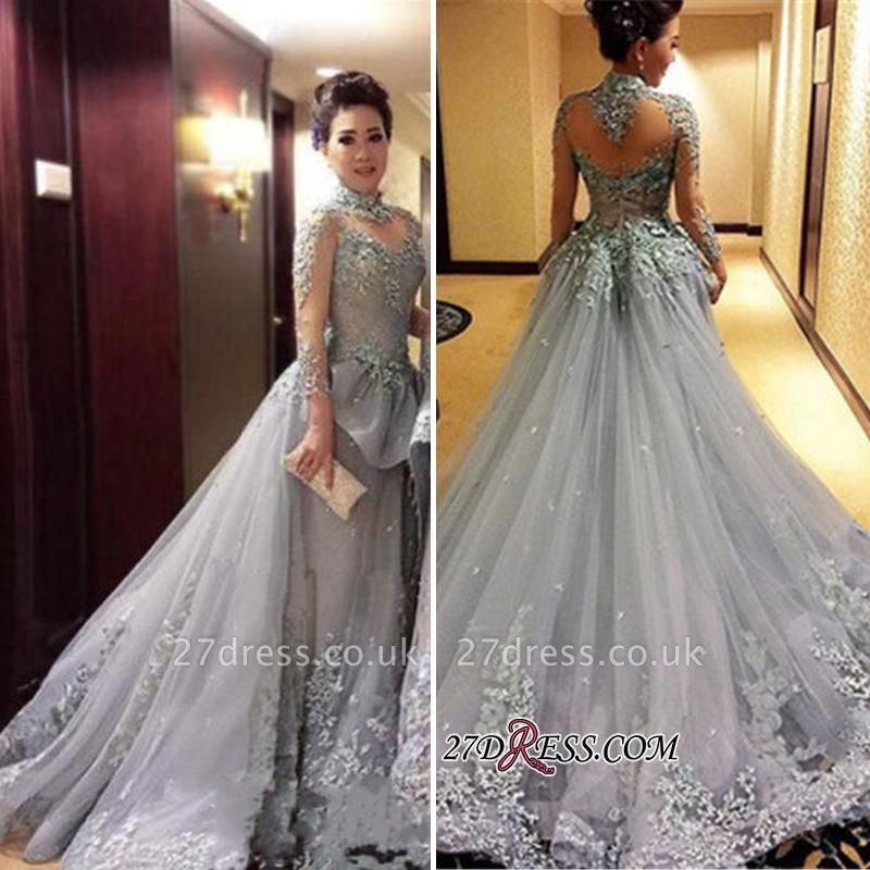 Modest Tulle Appliques High-Neck Long-Sleeves Prom Dress UK