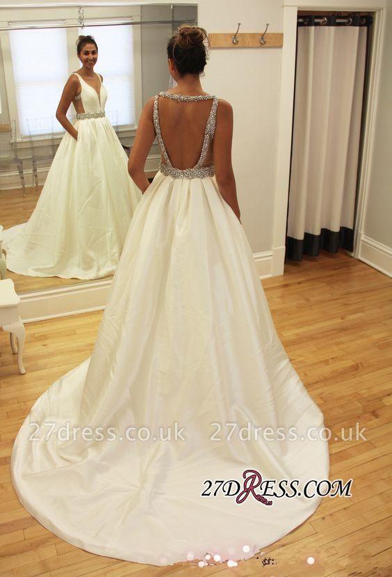 Newest A-line Beads Sleeveless V-neck Sweep-Train Wedding Dress