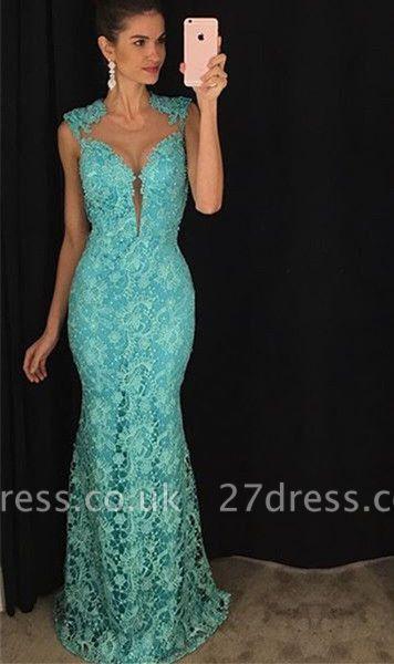 Delicate Lace Mermaid Prom Dress UK Sleeveless Sweep Train AP0