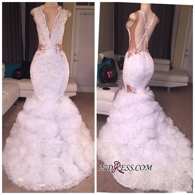 Criss-cross Sleeveless Mermaid Lace Ruffles Deep-V-neck Appliques Prom Dress UK BA5316