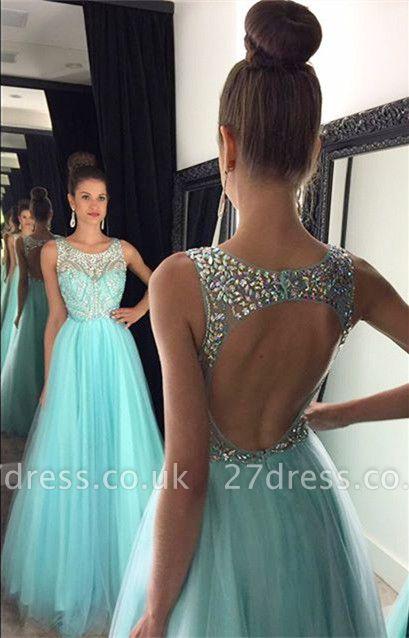 Modern Beadings A-line Illusion Evening Dress UK Tulle Floor-length Sleeveless AP0