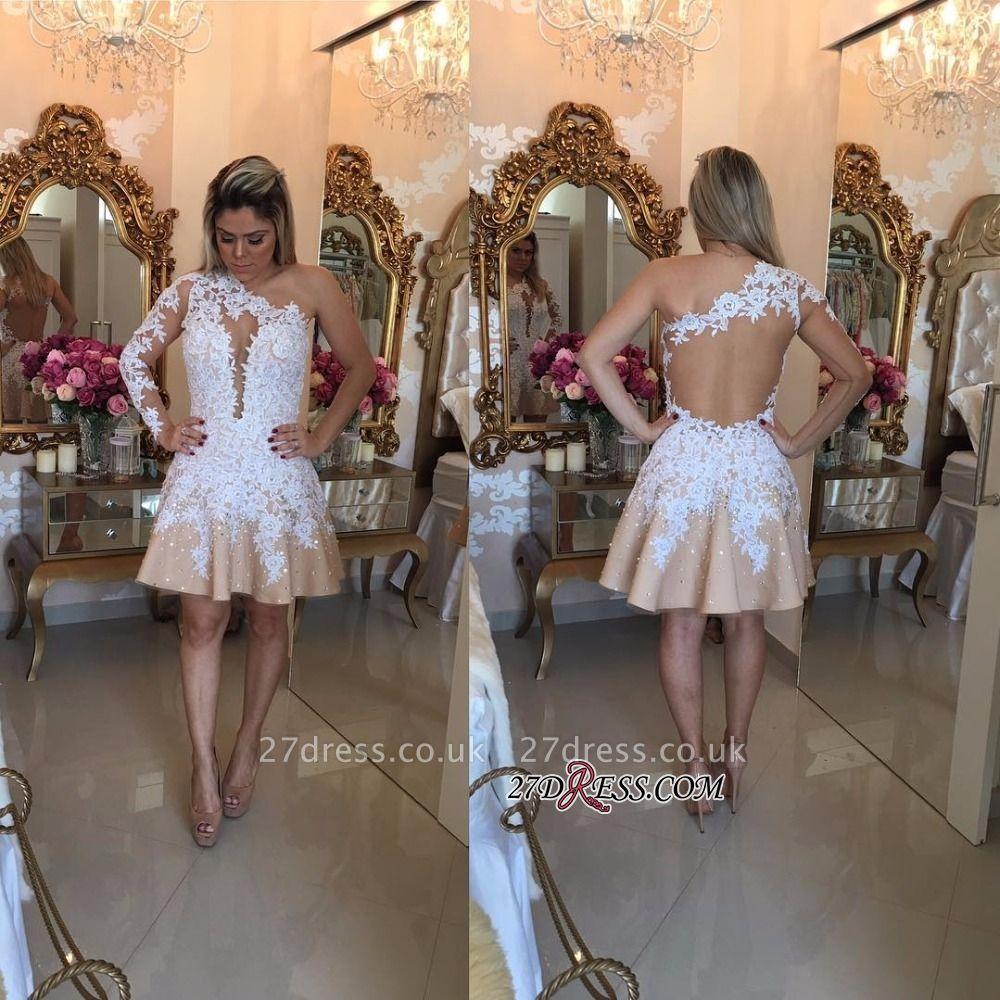 Appliques A-Line Newest One-Shoulder Short Homecoming Dress UKes UK