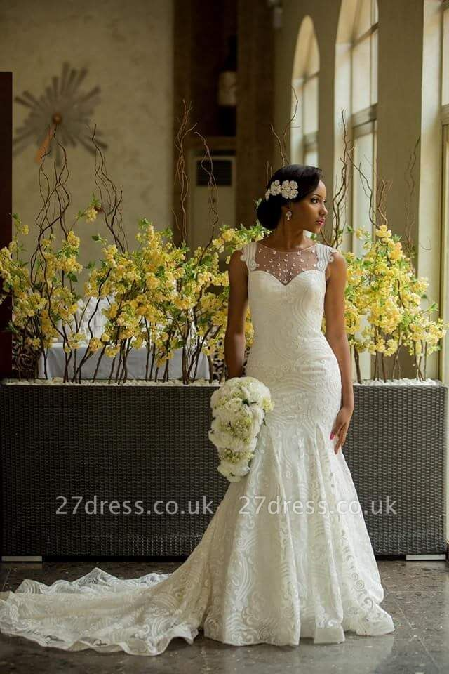 Sexy Mermaid Vintage Wedding Dress with Special Lace Beads Sheer Back Wedding Gowns BA3413