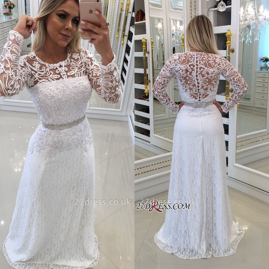 Scoop Long-Sleeves Lace White Buttons Evening Dress UK