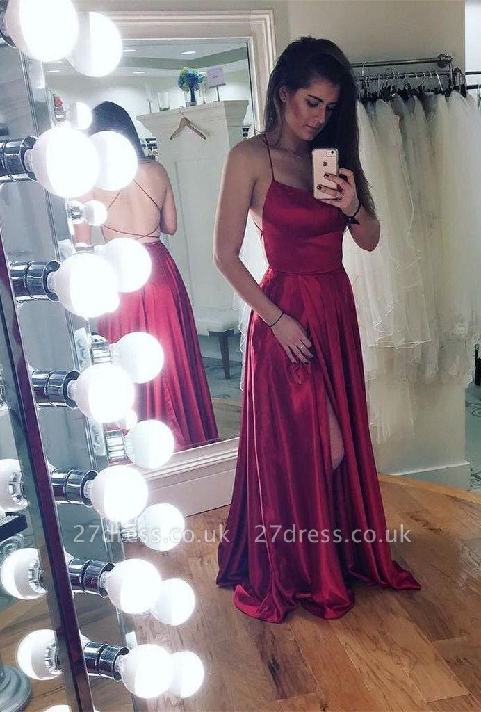 Spaghetti strap prom Dress UK with slit, party Dress UKes UK BA8048