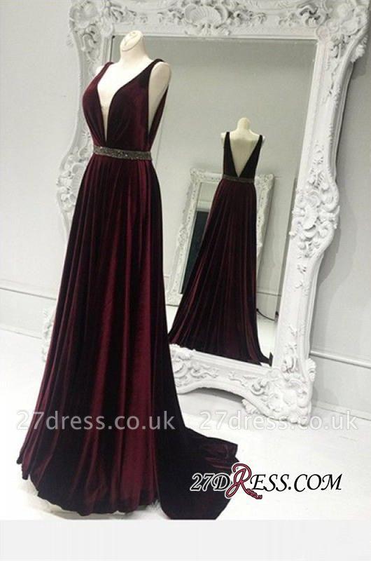 Elegant Sleeveless V-neck Burgundy Zipper Brads A-line Sweep-Train Prom Dress UK