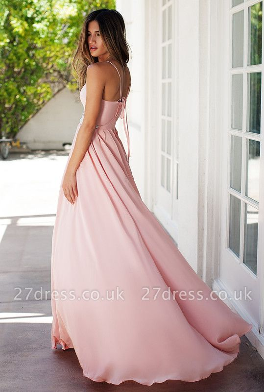 Sexy Pink Spaghetti Straps Prom Dress UK Summer Chiffon Beads BA3230