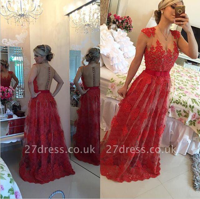 Elegant Red Pearls Lace Evening Dress UK Sheer Floor-Length BT0