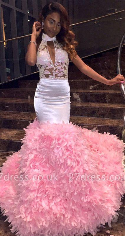 Modern Halter Lace Ruffles Prom Dress UK | Open Back Prom Dress UK BK0