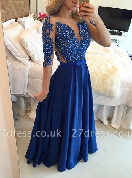 Delicate Chffion Royal Blue Prom Dress UK Lace Appliques Half Sleeve