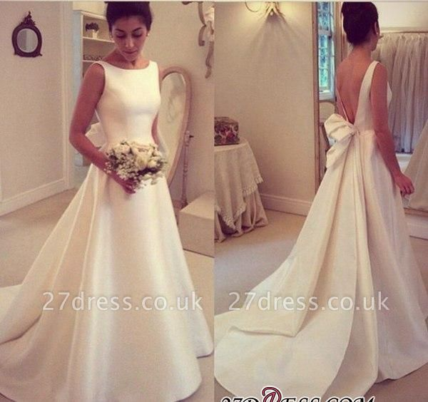 Jewel Sleeveless Bow Sweep-Train A-line Elegant Wedding Dress