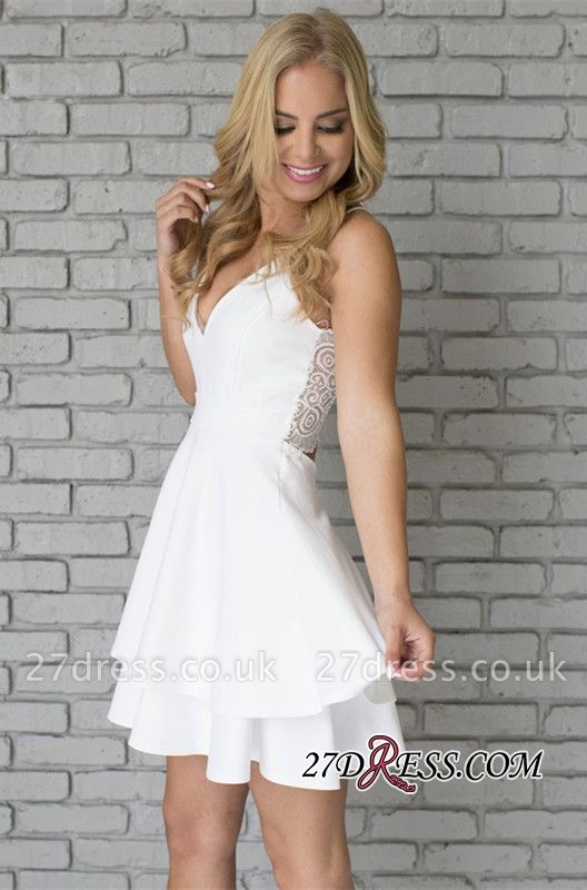 White Spaghetti-Strap Cute Lace Mini Sleeveless Homecoming Dress UK