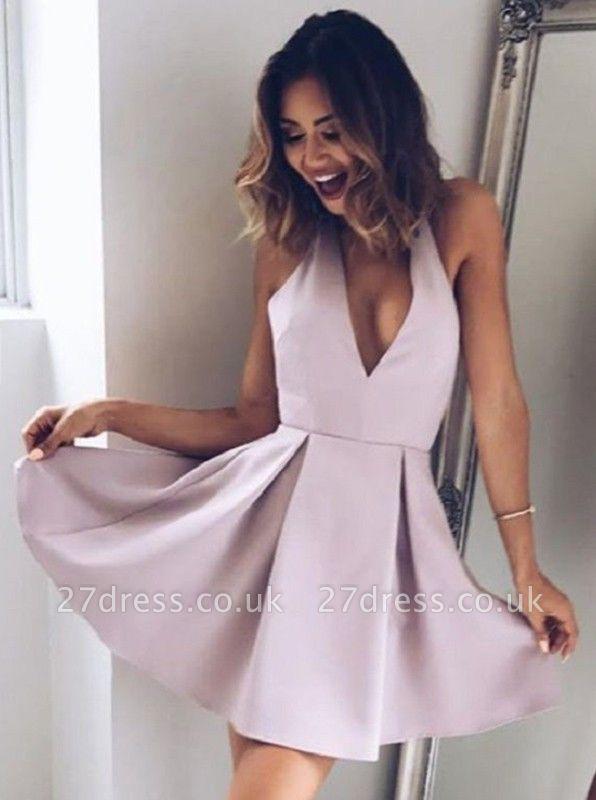 Elegant Halter V-Neck Short Simple Homecoming Dress UK