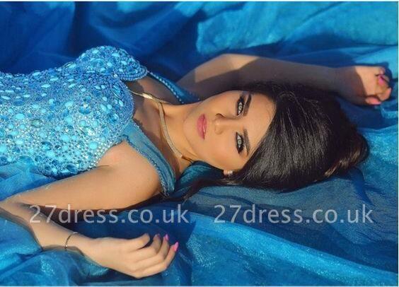 Sleeveless Long Crystals Straps A-line Luxury Evening Dress UK SP0179
