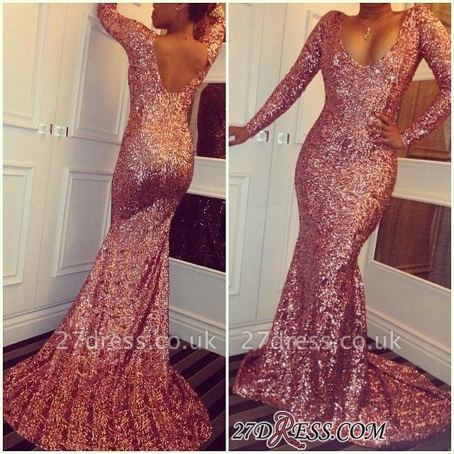 Sequined Mermaid Elegant Simple Long-Sleeves Prom Dress UKes UK BA3866