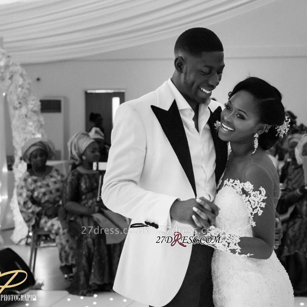 Jewel Lace Sheer-Neck Illusion Appliques Sexy Mermaid Long-Sleeve Nigeria Wedding Dresses UK