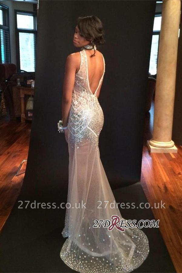 Sleeveless Sequins Open-Back Keyhole Halter Crystals Sheer-Tulle Mermaid Elegant Evening Dress UK BK0