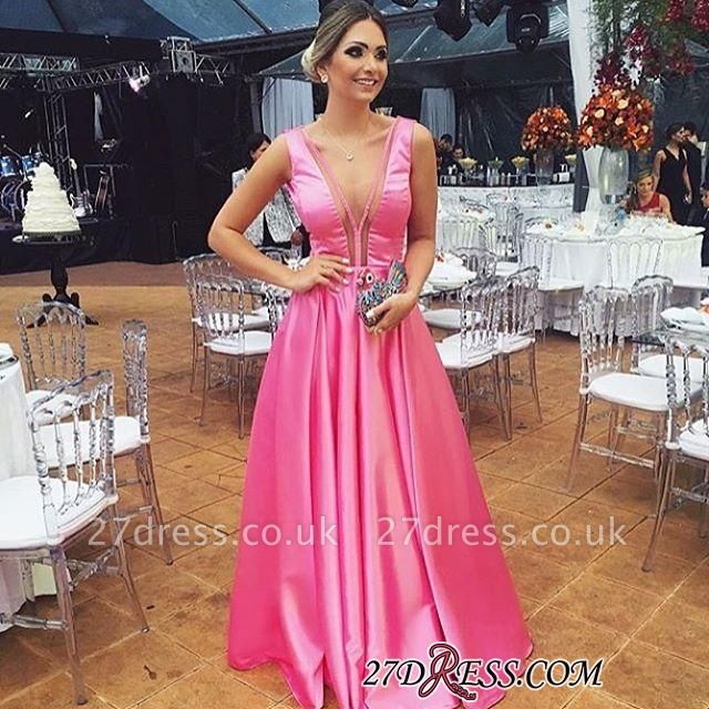 Floor-length Pink A-line Sleeveless Chic V-neck Sexy Evening Dress UK