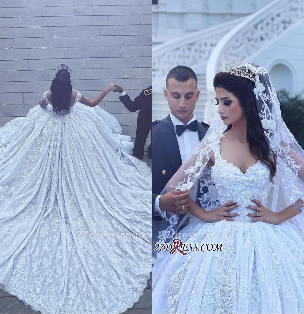 Ball-Gown Gorgeous Lace Sweetheart Flowers Sleevesless Wedding Dress cc0050