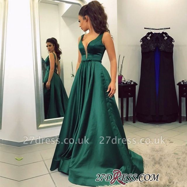 A-line Backless Green Sleeveless Newest V-neck Prom Dress UK BA8111
