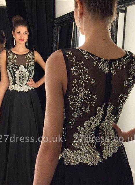 Newest Black Beadings A-line Evening Dress UK Illusion Zipper Sleeveless AP0