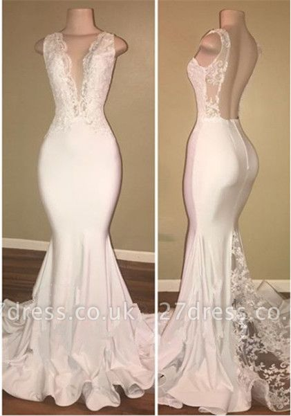 Sexy White Lace Evening Dress UK Mermaid Lace Backless Party Gowns BA7772