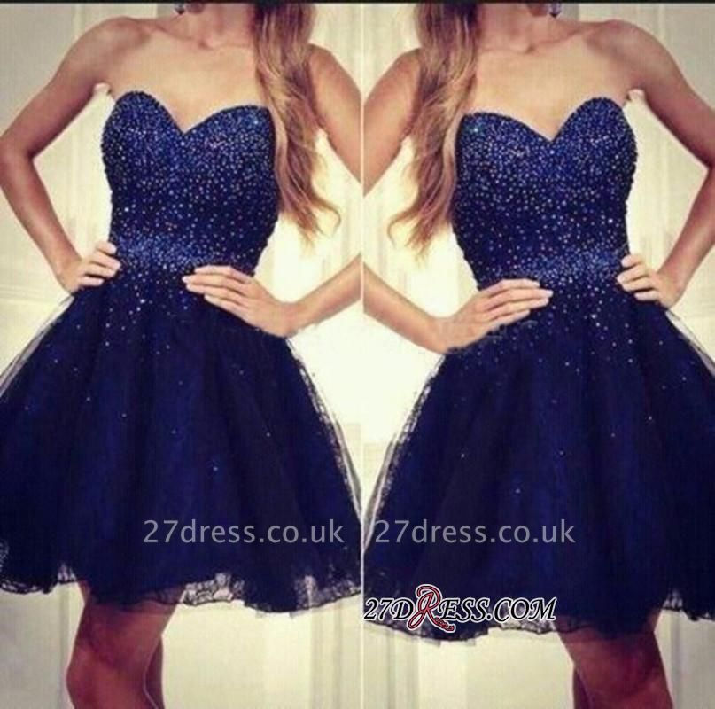 Strapless Sweetheart Short Beading Tulle Navy-Blue Sequins Homecoming Dress UKes UK