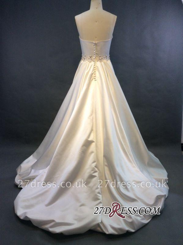 Zipper Sleeveless Gorgeous Sweetheart Beads Sweep-Train A-line Wedding Dress