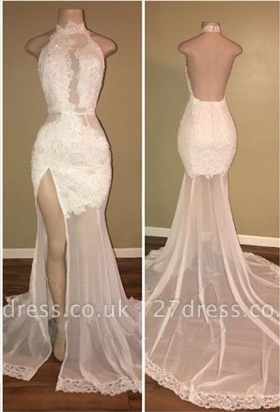 Sexy White Lace Halter Prom Dress UK Mermaid Backless Party Dress UK With Slit BA8228