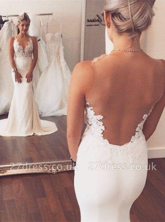 Noble Sleeveless Lace Appliques Wedding Dresses UK Sexy Mermaid On Sale BA3612