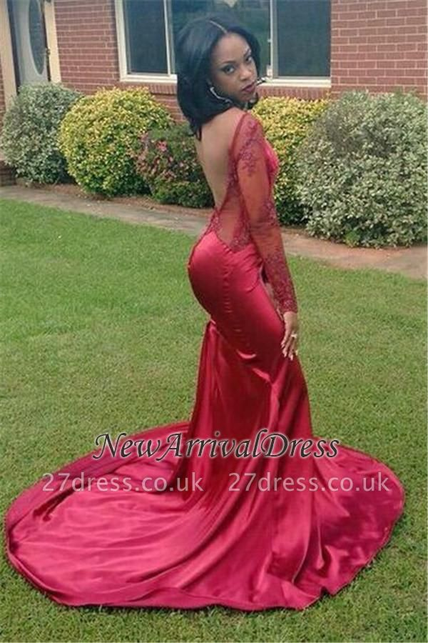 New Elegant Appliques Backless Long-Sleeves Red Mermaid Prom Dress UK BK0
