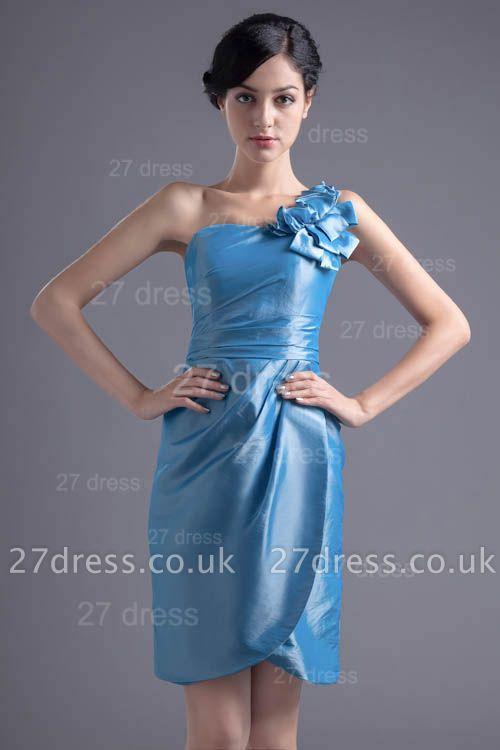 Newest One Shoulder Short Cocktail Dress UK Flower Zipper
