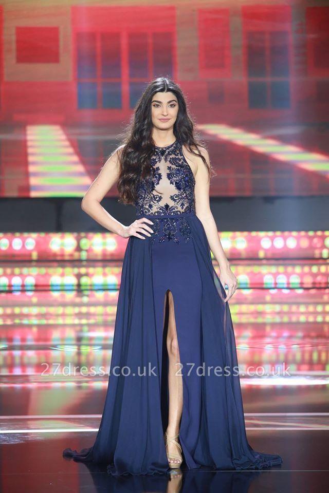 Sexy Sleeveless Evening Dress UK A-Line Chiffon Split Party Dress UK