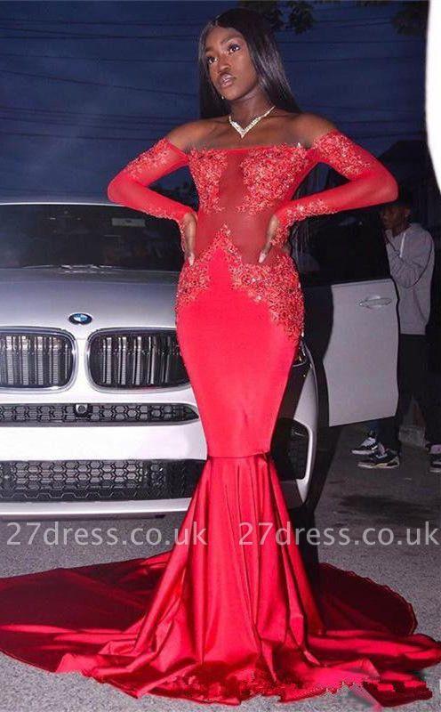 Elegant Long Sleeve Red Mermaid Prom Dress UK | Lace Prom Dress UK BK0