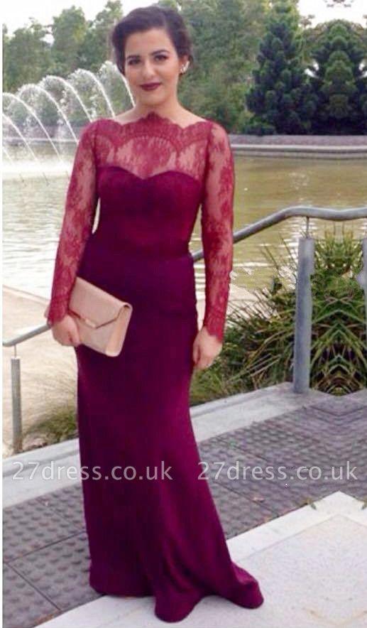 Elegant Lace Mermaid Illusion Evening Dress UK Zipper Button Back